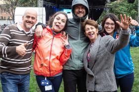 Llegó el día. ¡Puro Talento Tadeísta! Foto: Edwin Torres, Camila Delgado, Carlos Zardi, Clara Mondragon, Youlin Hurtado, parte del equipo de orientación Estudiantil.