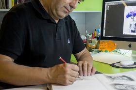 Dictó las 10 materias de ilustración que ofrecía el programa, desde ilustración de comics hasta ilustración científica.